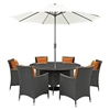 Sojourn 8 Pieces Outdoor Patio Set - Sunbrella Canvas Tuscan - EEI-2270-CHC-TUS-SET