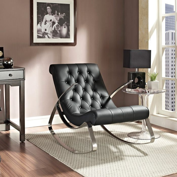 Canoo Button Tufted Rocker - Chrome Steel, Black - EEI-235-BLK