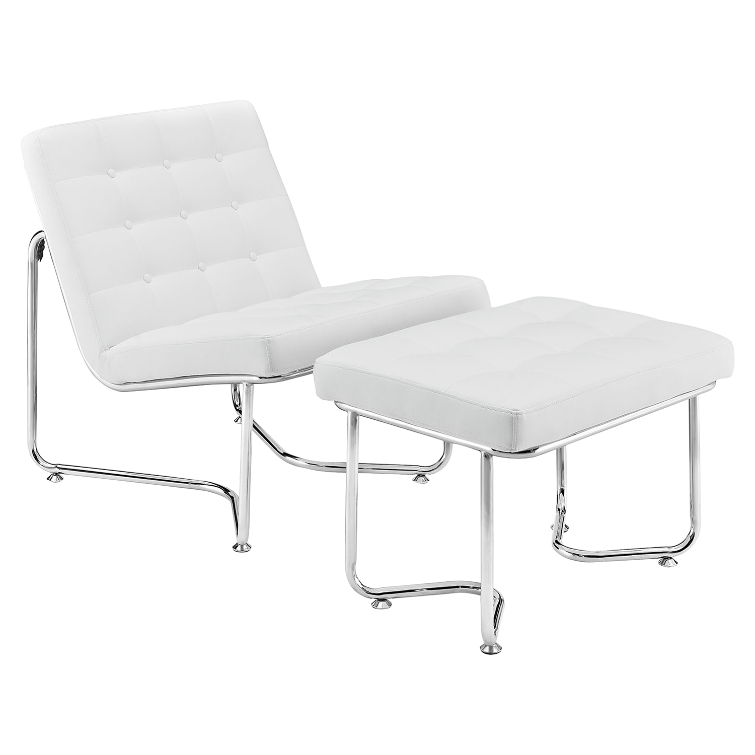 Gibraltar Leatherette Lounge Chair - Button Tufted, White - EEI-262-WHI