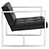 Hover Leatherette Lounge Chair - Tufted, Black - EEI-263-BLK
