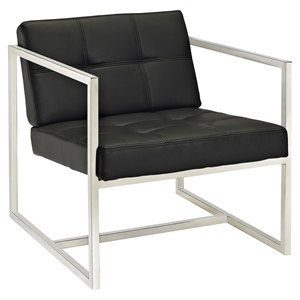 Hover Leatherette Lounge Chair - Tufted, Black