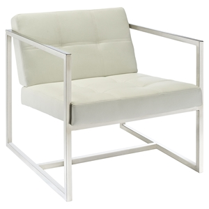 Hover Leatherette Lounge Chair - Tufted, White