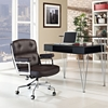 Remix Leatherette Office Chair - Button Tufted, Brown - EEI-276-BRN