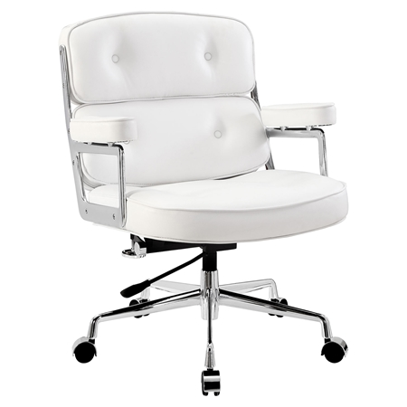 Remix Leatherette Office Chair Button Tufted White