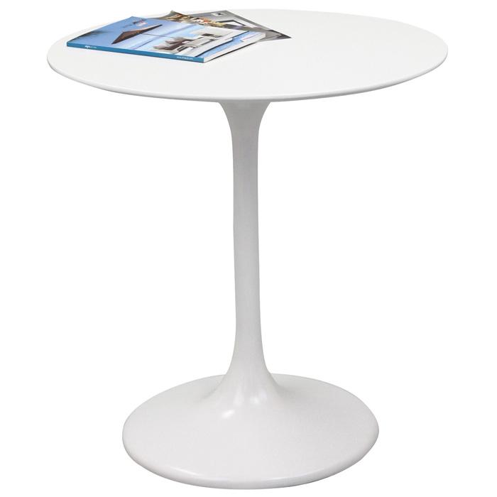 Lippa Saarinen Inspired 28 Fiberglass Round Dining Table in White