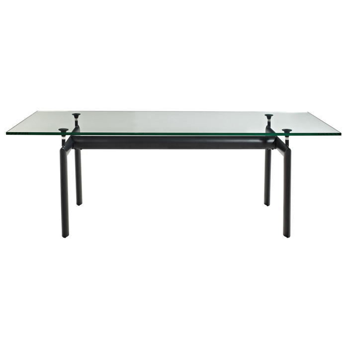 LC6 Rectangle Glass Top Dining Table EEI 521 BLK