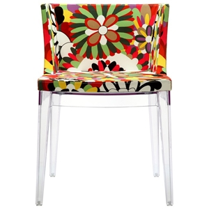 Flower Design Fabric Chair - Clear Legs