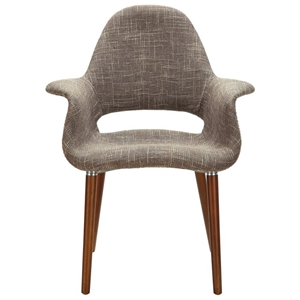 Taupe Twill Fabric Retro Modern Chair