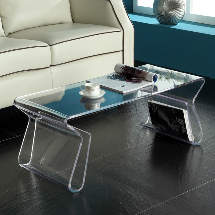 Acrylic Rectangle Coffee Table With Magazine Holder