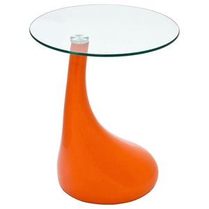Teardrop Side Table with Round Glass Top