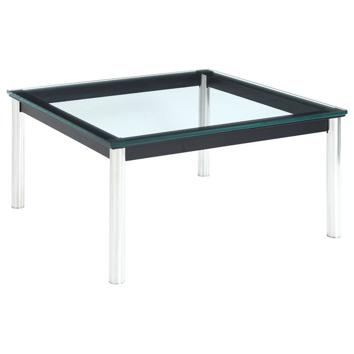 LC10 Square Glass Top End Table - EEI-571-BLK