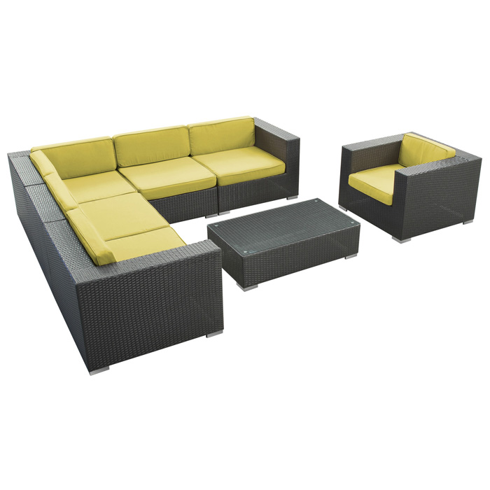 Corona 7 Piece Outdoor Sectional Sofa Set - EEI-606-EXP