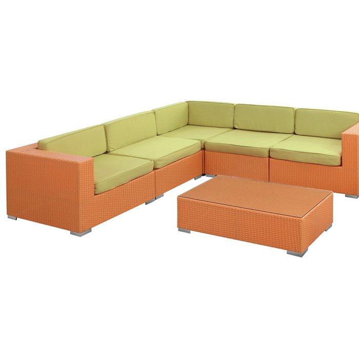 Corona Outdoor Sectional Sofa Set Orange Frame Green
