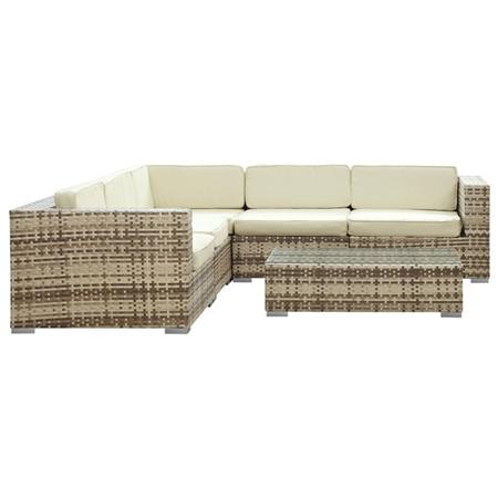 Corona Outdoor Sectional Sofa Set Sepia Frame White
