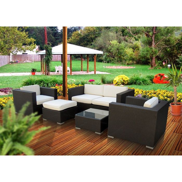 Malibu Outdoor Living Set with Espresso Frame - EEI-607-EXP