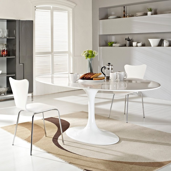 ... Lippa Saarinen Inspired Oval Fiberglass Top Dining Table In White    EEI 624 WHI