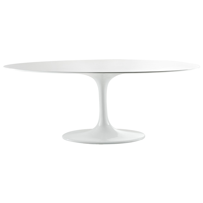 Lippa Saarinen Inspired Oval Fiberglass Top Dining Table In White    EEI 624 WHI ...