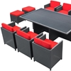 Reversal Outdoor Dining Set - Espresso Frame, Red Cushions - EEI-644-EXP-RED-SET