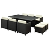 Miyagi Espresso Outdoor Dining Set with White Cushions - EEI-644-EXP-WHI-SET
