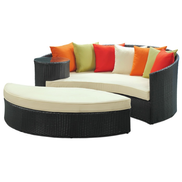 Taiji Outdoor Daybed Set - Espresso Frame, Multicolored Cushions