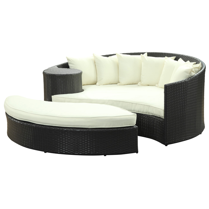 Taiji Outdoor Daybed Set - Espresso Frame - EEI-645-EXP