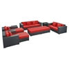 Eclipse 9 Pieces Outdoor Patio Sofa Set - Espresso, Red - EEI-647-EXP-RED-SET