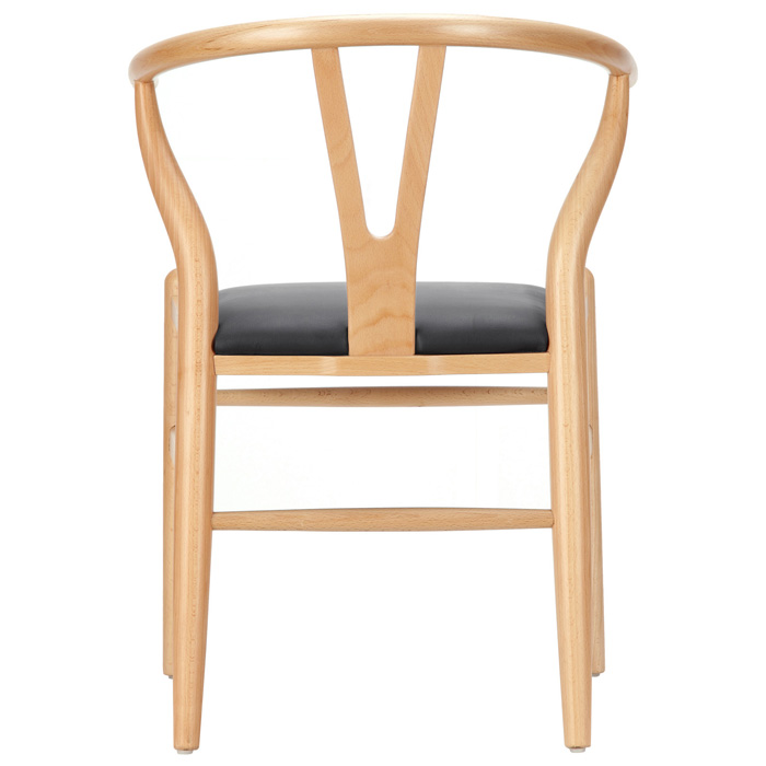 Amish Wishbone ''Y'' Chair - Natural Frame, Black Seat - EEI-650-BLK