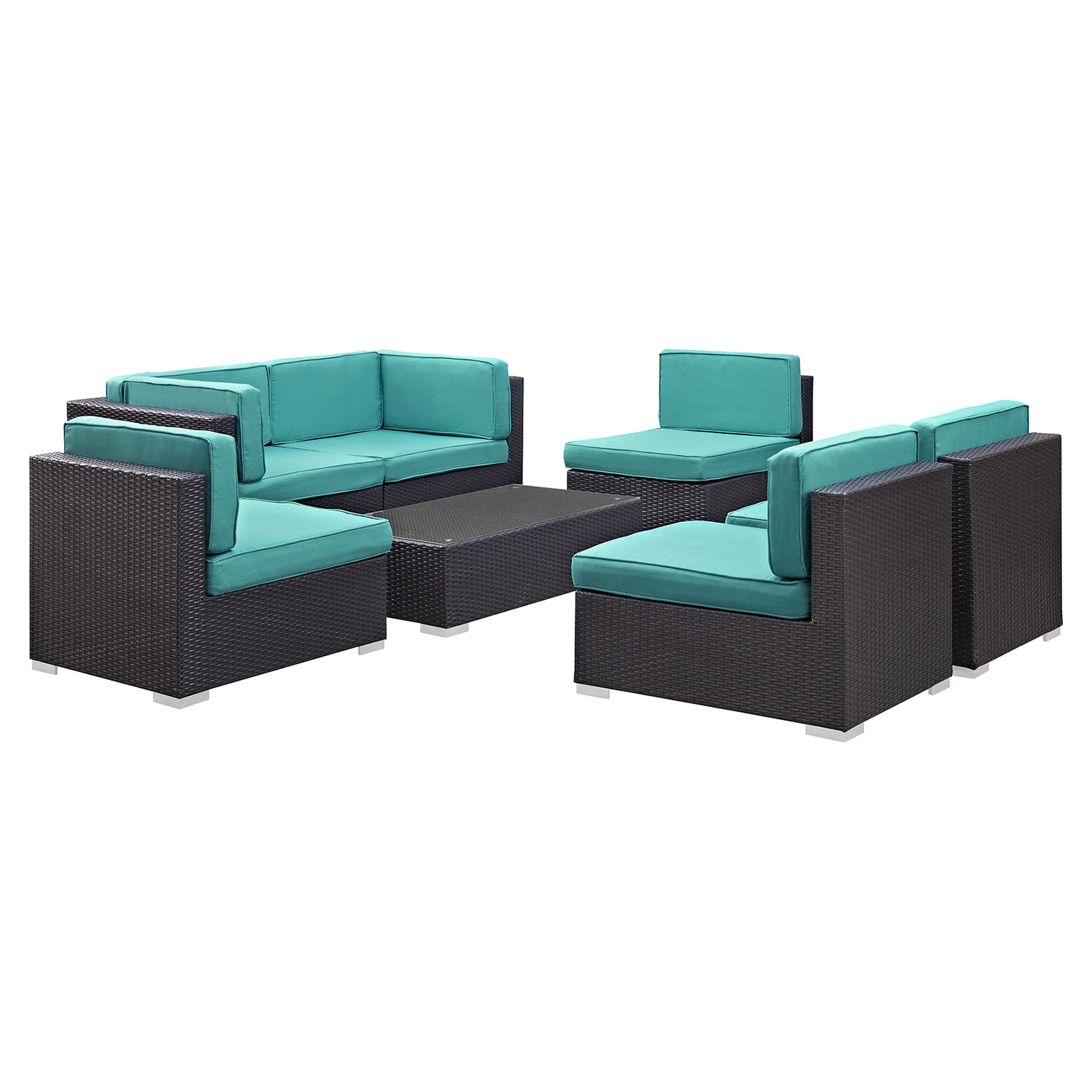 Aero 7 Pieces Outdoor Patio Sectional Set - Espresso, Turquoise - EEI-695-EXP-TRQ-SET