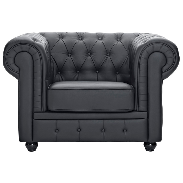 Chesterfield Leather Armchair - Button Tufts, Bun Feet, Black - EEI-699-BLK