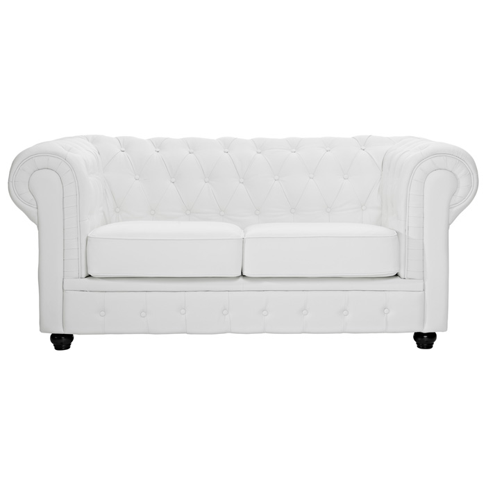 Chesterfield Leather Loveseat - Button Tufts, Bun Feet, White - EEI-700-WHI