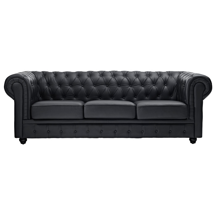 Chesterfield Leather Sofa - Button Tufts, Bun Feet, Black - EEI-701-BLK