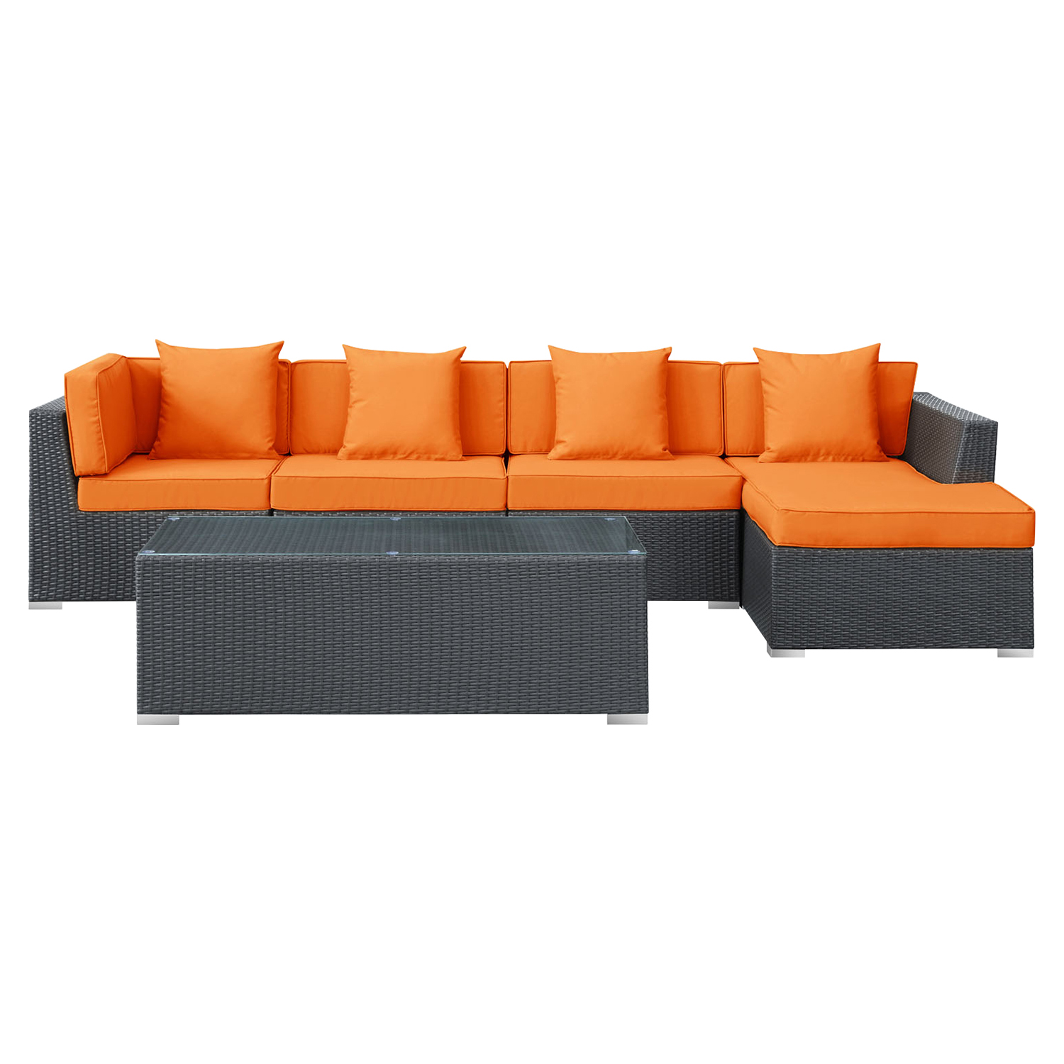 Signal 5 Pieces Outdoor Patio Wicker Sectional Set - EEI-728-EXP-SET
