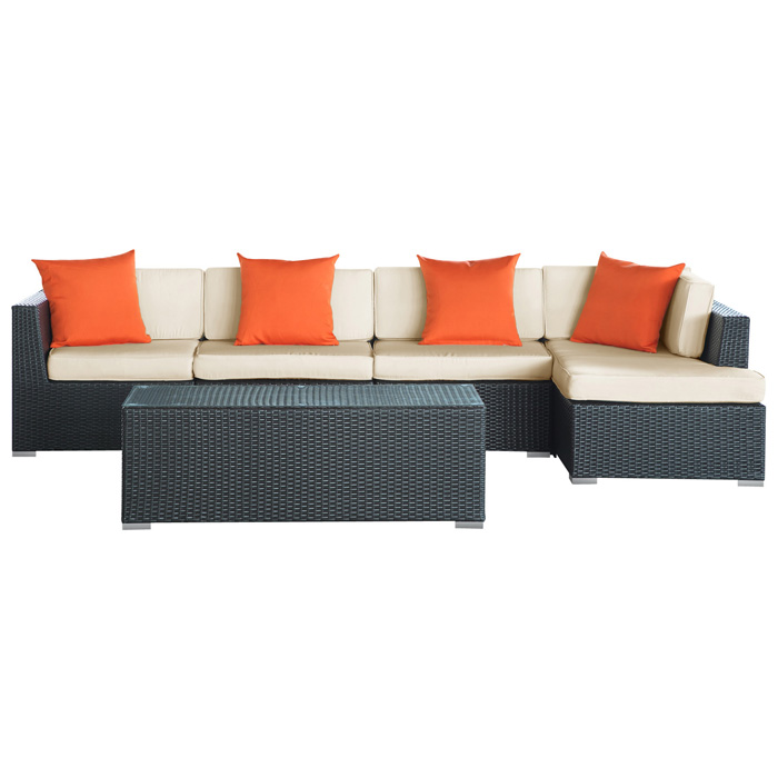 Signal patio chaise sectional coffee table set for Chaise coffre