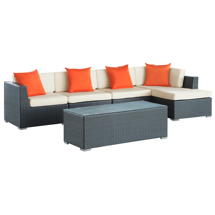 Signal Patio Chaise Sectional & Coffee Table Set - Espresso Frame - EEI-728-SET