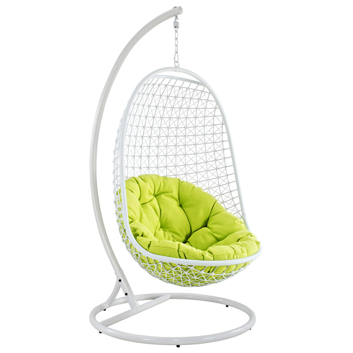 Encounter Lounge Chair & Stand - White Frame, Green Cushion - EEI-738-SET