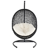Encase Hanging Patio Lounge Chair - Espresso, White Cushion - EEI-739-SET