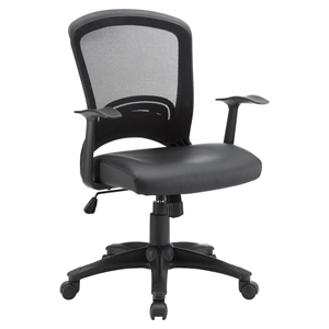 Pulse Leatherette Office Chair - Adjustable Height, Swivel, Black
