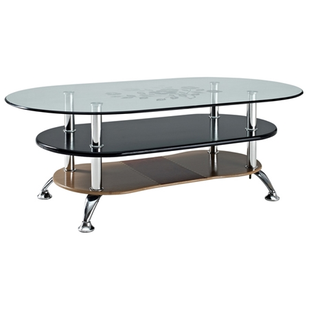 Absolute 3 Tier Oval Coffee Table Tempered Glass Black Brown Dcg Stores