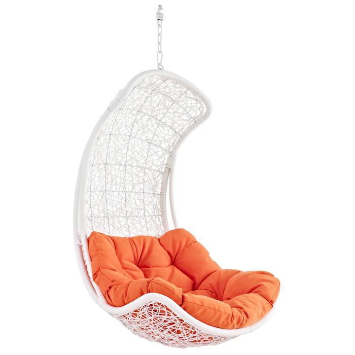 Endow Hanging Rattan Chair   White Frame, Orange Cushion   EEI 805 SET ...