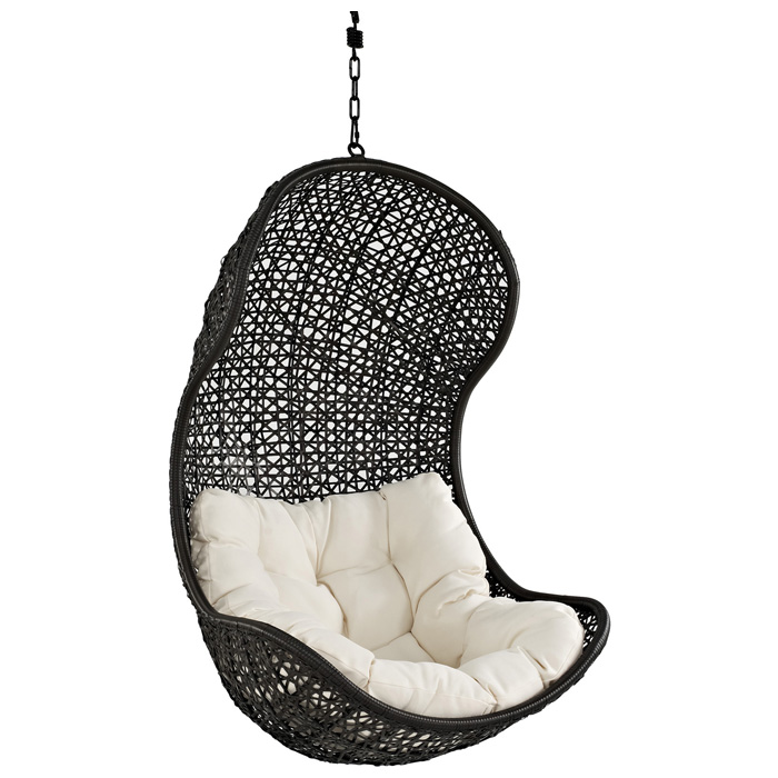 Parlay Hanging Rattan Chair - Espresso Frame, White Cushion - EEI-806-SET