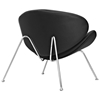 Nutshell Upholstered Lounge Chair - Chrome Steel Legs, Black - EEI-809-BLK
