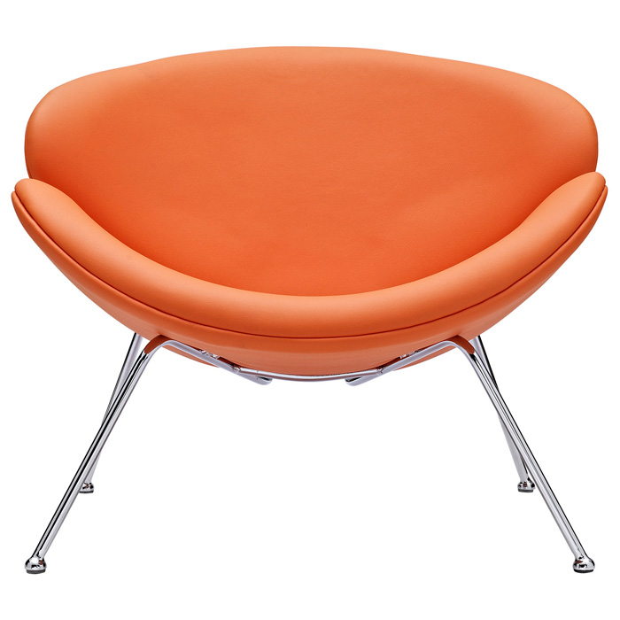 Nutshell Upholstered Lounge Chair - Chrome Steel Legs, Orange - EEI-809-ORA