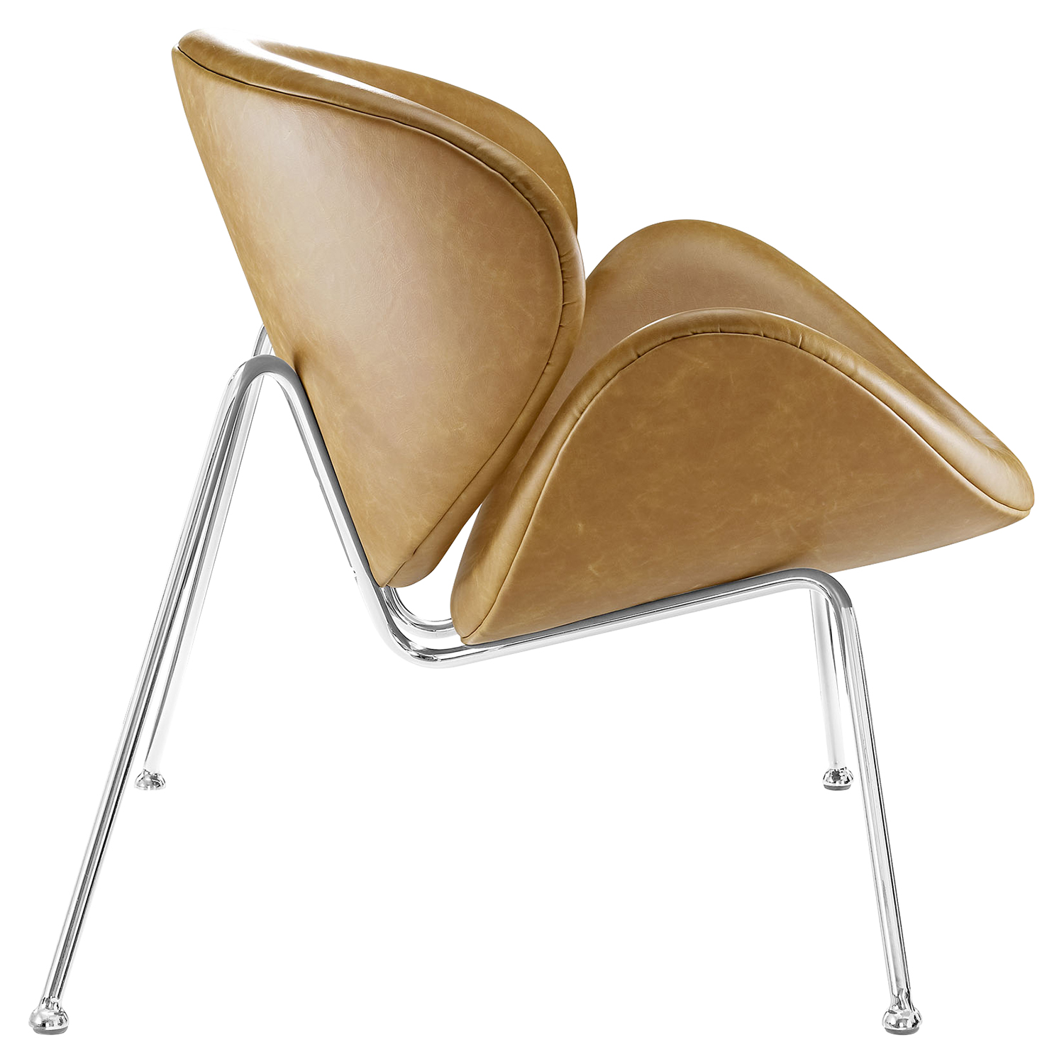 Nutshell Leatherette Lounge Chair - Tan - EEI-809-TAN