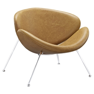Nutshell Leatherette Lounge Chair - Tan