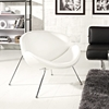 Nutshell Upholstered Lounge Chair - Chrome Steel Legs, White - EEI-809-WHI