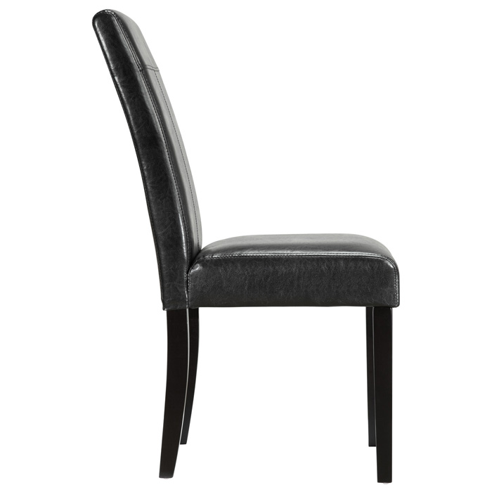 Compass upholstered dining chair wood legs black dcg for Upholstered dining chairs with black legs