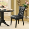 Silhouette Button Tufted Dining Chair - Wood Legs, Black - EEI-812-BLK
