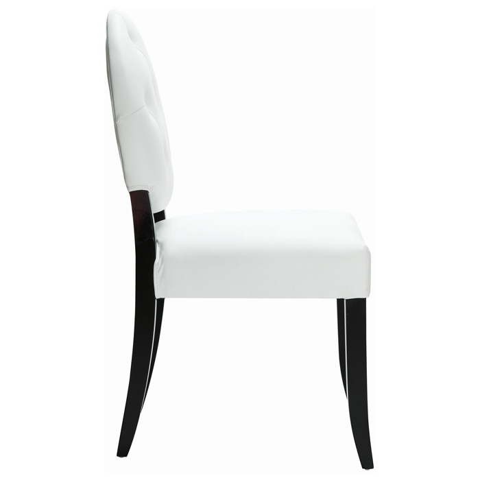 Button upholstered dining chair wood legs white dcg for White wood upholstered dining chairs