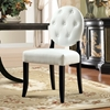 Button Upholstered Dining Chair - Wood Legs, White - EEI-815-WHI
