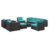 Avia 10 Pieces Outdoor Patio Sectional Set - Espresso Turquoise - EEI-826-EXP-TRQ-SET